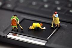 Anti-virus van de computer en veiligheidsconcept. Stock Afbeeldingen