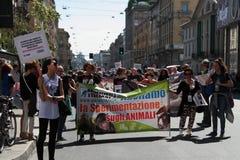 Anti-vivisección 13 de marzo mayo de 2017 Milán Imagen de archivo libre de regalías