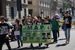 Anti-vivisección 13 de marzo mayo de 2017 Milán Foto de archivo