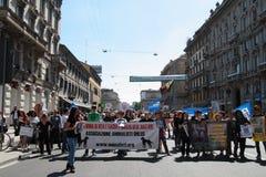 Anti-vivisección 13 de marzo mayo de 2017 Milán Fotografía de archivo libre de regalías
