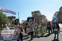 Anti-vivisección 13 de marzo mayo de 2017 Milán Foto de archivo libre de regalías