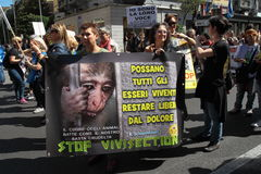 Anti-vivisection march 13 May 2017 Milan Stock Image