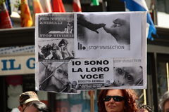 Anti-vivisezione 13 marzo maggio 2017 Milano Immagini Stock Libere da Diritti