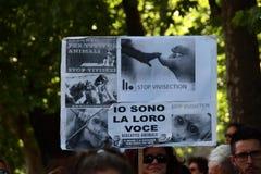 Anti-vivisseção o 13 de março maio de 2017 Milão Imagem de Stock