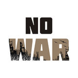 Anti war banner. No war. The antiwar poster with the image of the city destroyed by bombings.  Vector illustration Stock Photos