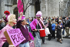 Anti-war `Code Pink` demonstrators taking part in the Easter Parade on 5th avenue in New York City Stock Photography
