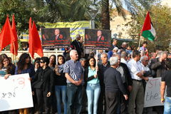 Anti war demonstration supporting Gaza in Nazareth Stock Photos