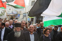 Anti war demonstration supporting Gaza in Nazareth Royalty Free Stock Image