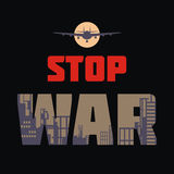 Anti war design. Stop war. The antiwar poster with the image of the city destroyed by bombings.  Vector illustration Stock Photos