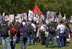 Union Anti-War / Pro-Employment. Workers and labor union members with anti war - pro employment placards gather at the One Nation Together Rally held at the Stock Photos