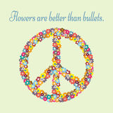 Anti-war propaganda. Silhouette pacifism sign painted colorful flowers. Text Flowers are better than bullets. Abstract. Royalty Free Stock Photos