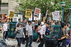 Anti War protest. Manhattan, NYC,USA: Demonstrators protest against the war with Syria on September 7, 2013 in New York City,USA Stock Image