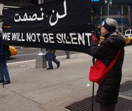 Anti-war protest at Times Square Royalty Free Stock Image