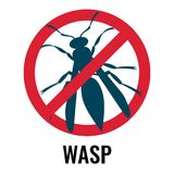 Anti wasp sign with icon of fly, vector illustration. Anti wasp sign with icon of fly placed in red circle and crossed with line, emblem represented on vector royalty free illustration