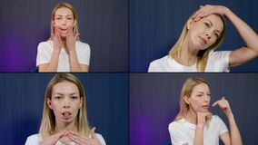 Anti-wrinkle massage and gymnastic at home, woman is demonstrating exercises for face, collage