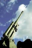 Antiaircraft gun against the sky Stock Photos