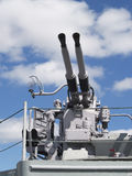 AntiAircraft Guns Old Vintage Navy Battleship Blue Sky Stock Photo