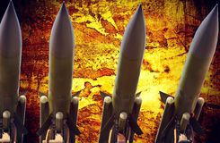 Antiaircraft missiles abstract grunge dramatic photo Royalty Free Stock Photo