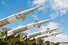 Antiaircraft missles weapon aimed to the sky. Defense forces weapon. antiaircraft missles rockets with warhead aimed to the sky Royalty Free Stock Image