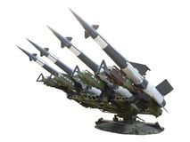 Antiaircraft rockets isolated on white. Launcher with antiaircraft rockets isolated on white, avalaible in PNG format with transparent background Stock Image
