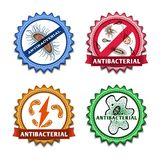 Antibacterial badges set. Antibacterial health care ribbon badges set isolated vector illustration Stock Images