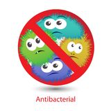 Antibacterial sign with a funny cartoon bacteria. Antibacterial sign with funny colorful cartoon bacteria. Vector illustration Royalty Free Stock Photography