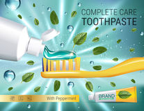 Antibacterial toothpaste ads. Vector 3d Illustration with toothpaste, brush and mind leaves. Stock Images