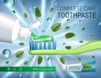 Antibacterial toothpaste ads. Vector 3d Illustration with toothpaste, brush and mind leaves. Stock Photo