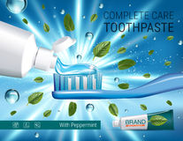 Antibacterial toothpaste ads. Vector 3d Illustration with toothpaste, brush and mind leaves. Royalty Free Stock Images