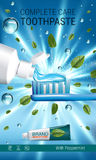 Antibacterial toothpaste ads. Vector 3d Illustration with toothpaste, brush and mind leaves. Stock Photos