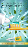 Antibacterial toothpaste ads. Vector 3d Illustration with toothpaste, brush and mind leaves. Stock Image