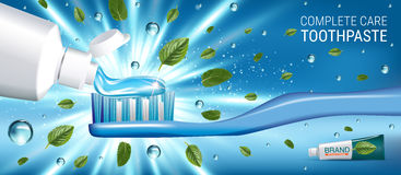Antibacterial toothpaste ads. Vector 3d Illustration with toothpaste and mind leaves. Horizontal banner with product Stock Image
