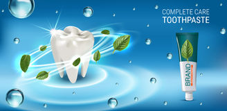 Antibacterial toothpaste ads. Vector 3d Illustration with toothpaste and mind leaves. Stock Images