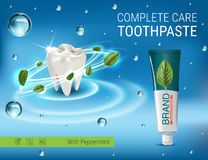 Antibacterial toothpaste ads. Vector 3d Illustration with toothpaste and mind leaves. Poster with product Stock Photo