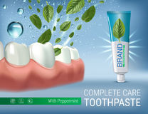 Antibacterial toothpaste ads. Vector 3d Illustration with toothpaste and mind leaves. Stock Photo