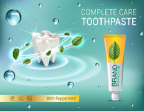 Antibacterial toothpaste ads. Vector 3d Illustration with toothpaste and mind leaves. Stock Photography