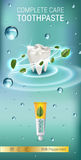 Antibacterial toothpaste ads. Vector 3d Illustration with toothpaste and mind leaves. Royalty Free Stock Photo