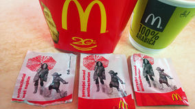 Antibacterial wet wipes at McDonald's instead of workig WC. McDonald's gives customers antibacterial wet wipes as WC is closed for renovation, in Sibiu, Romania Royalty Free Stock Photography
