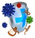 Antibacterieel of Antivirusschild Stock Afbeeldingen