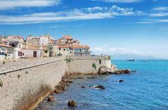 Antibes. Ligurian sea and coastal wall in Antibes, France Royalty Free Stock Image