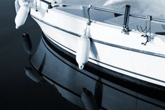 Antibes #176. A close-up of a yacht  in Antibes, France.  Blue tone, copy space Stock Photos