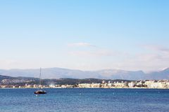 Antibes #289. A yacht on the ocean in Antibes, France. Copy space royalty free stock photography