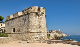 Antibes côte d`azur france. Antique fort in defense of the city royalty free stock images