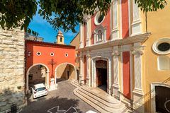 Antibes Cathedral on small town square royalty free stock image