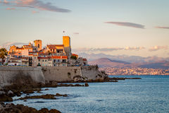 Antibes coast. Coast of Antibes at sunset stock photo