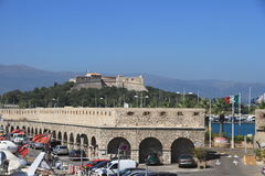 ANTIBES, FRANCE - AUG 27, 2014: fortress of Port Vauban Royalty Free Stock Images