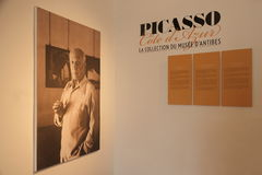 Antibes, FRANCE - 30 August 2014: museum panel of Pablo Picasso Stock Images