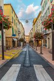 Street in the old town Antibes in France. ANTIBES, FRANCE - NOVEMBER 3, 2014: Street in the old town stock photo