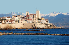 Antibes, French Riviera. Antibes, old town, French Riviera. The tower with the flag is the first museum in the world to be dedicated to the artist Pablo Picasso Royalty Free Stock Photos