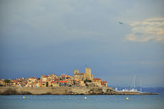 Antibes old port, French Riviera. France. Sunset over old port of Antibes, French Riviera. France Stock Photos